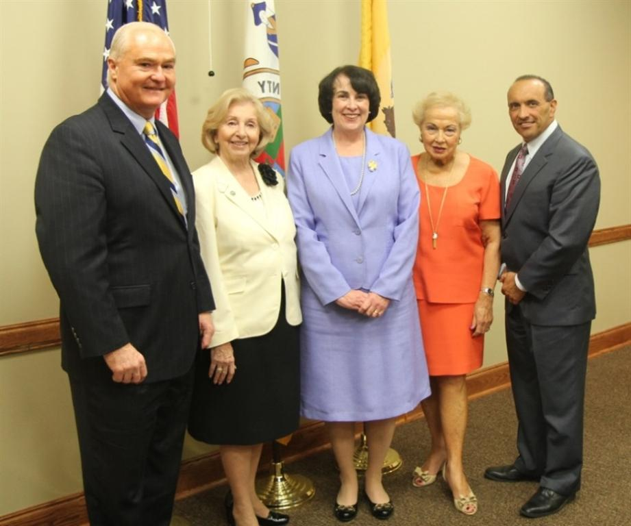 Chief of the U.S. State Department's Passport Office, Brenda Sprague (center), tours the Monmouth County Connection with County Clerk M. Claire French and the Board of Chosen Freeholders on Aug. 28 in Neptune, NJ. Pictured left to right: Freeholder John P. Curley, Monmouth County Clerk M. Claire French, Brenda Sprague, Freeholder Director Lillian G. Burry and Freeholder Thomas A. Arnone.