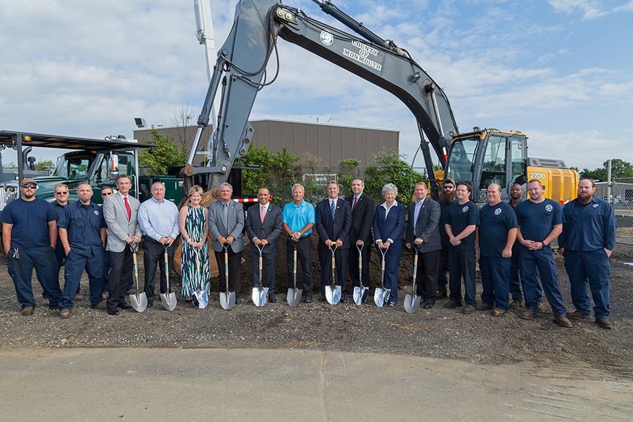 The Monmouth County Board of Chosen Freeholders were joined by local officials, union representatives and County employees as they broke ground on a new Heavy Equipment Maintenance Building (HEMB) at the County's Public Works Complex located in the Township of Freehold.
